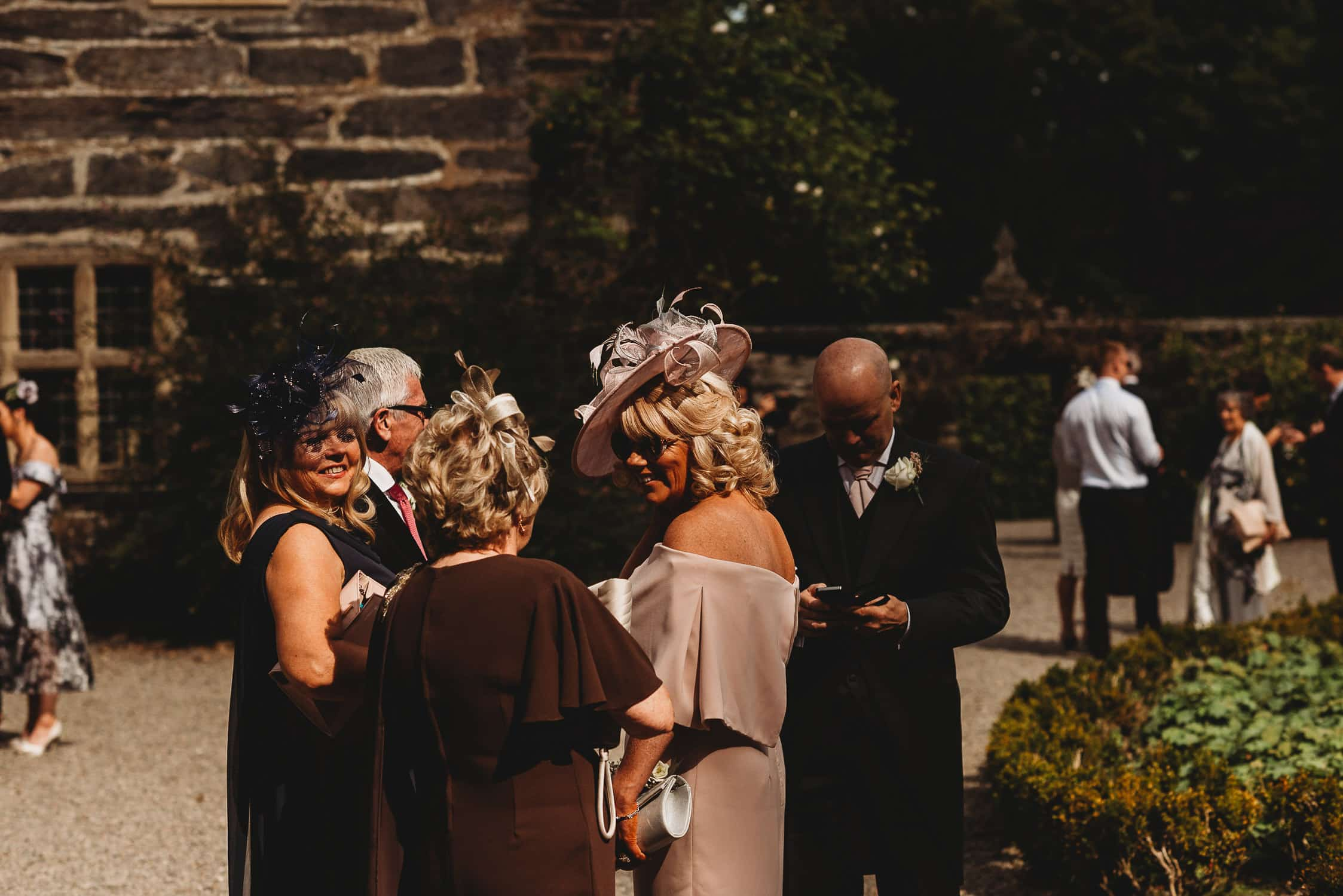 wedding guests at Gwydir Castle