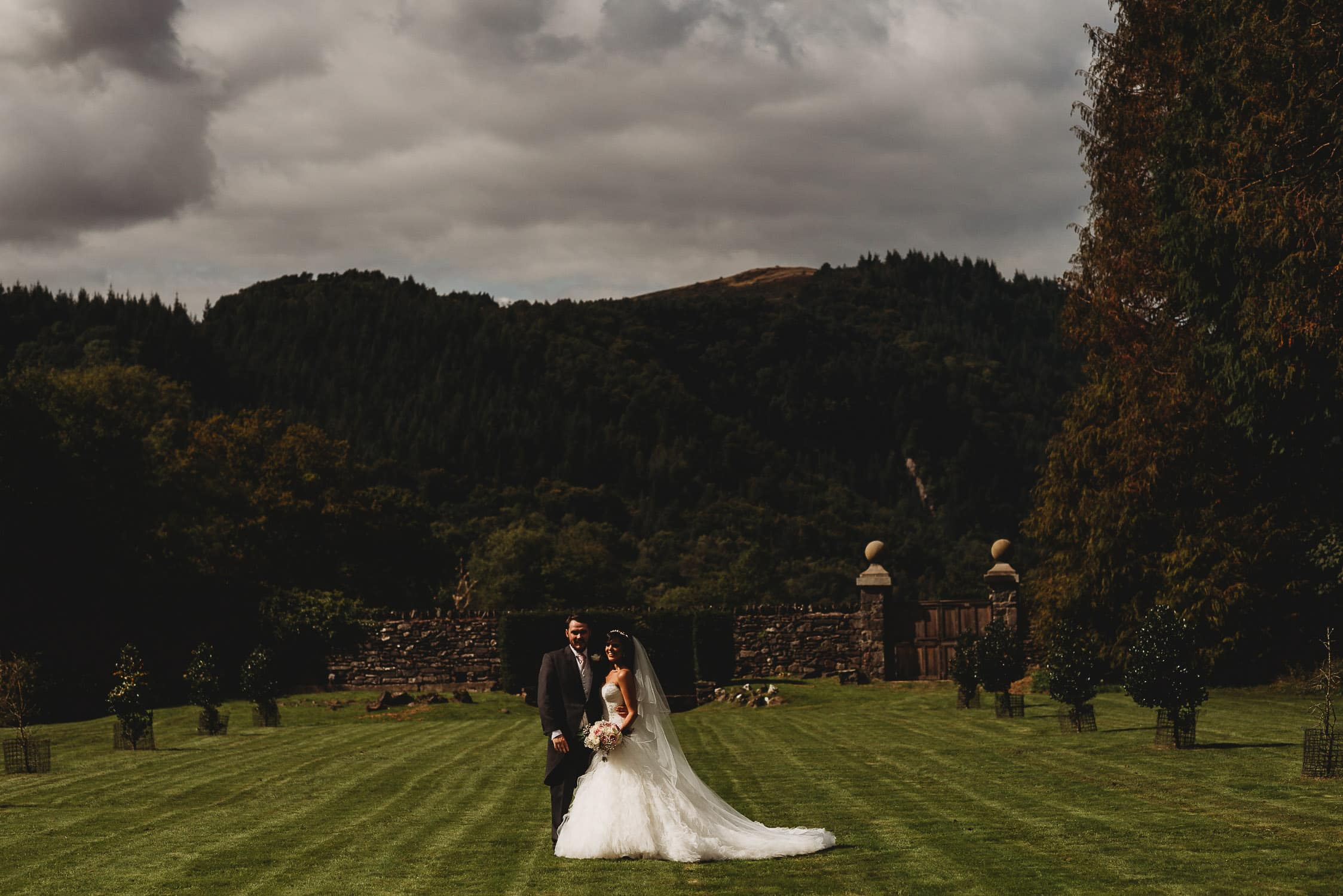 Couple portrait of newly married couple at Gwydir Castle in North Wales