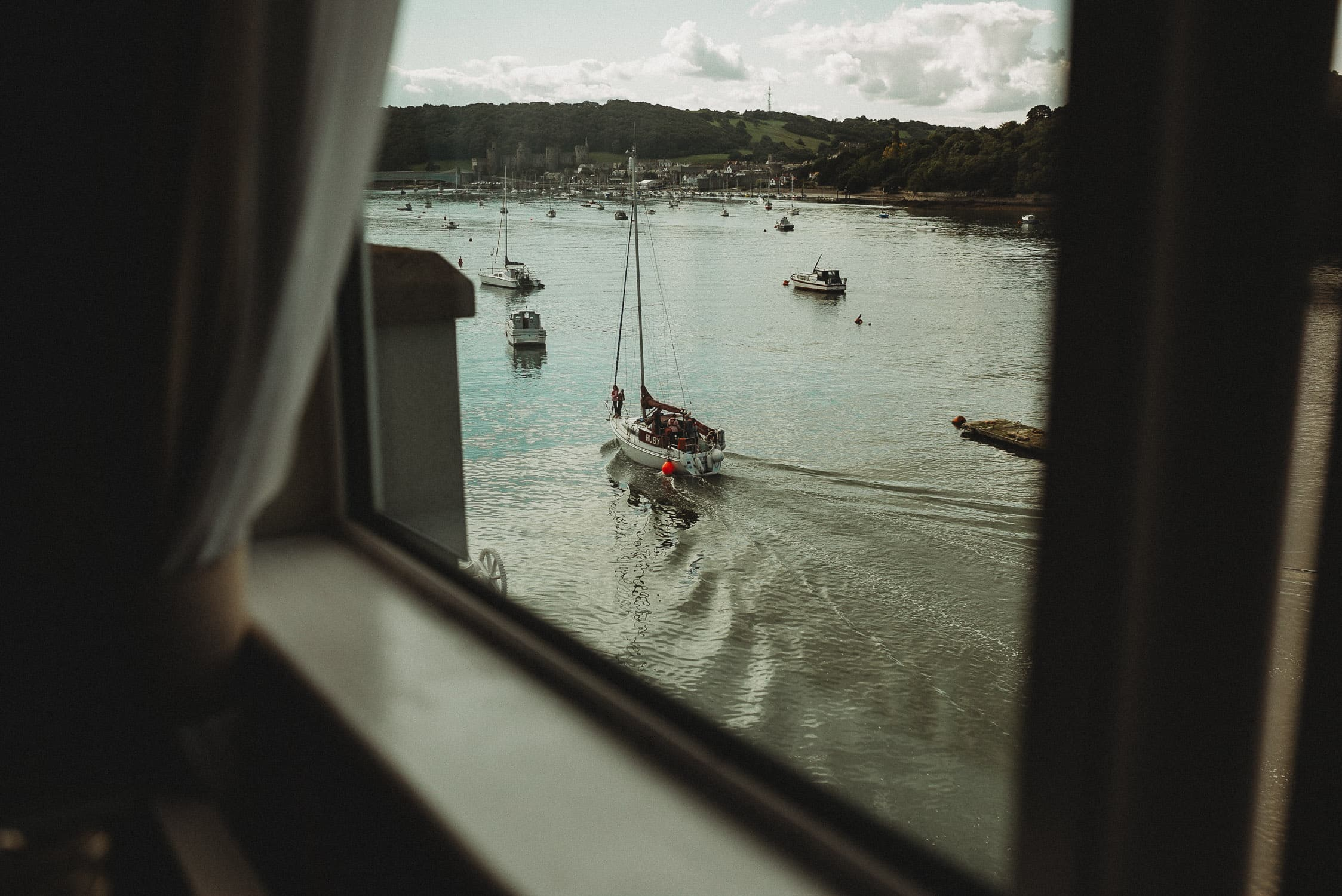 Conwy marina as seen by The Quay Hotel Wedding Photographer in Conwy North Wales