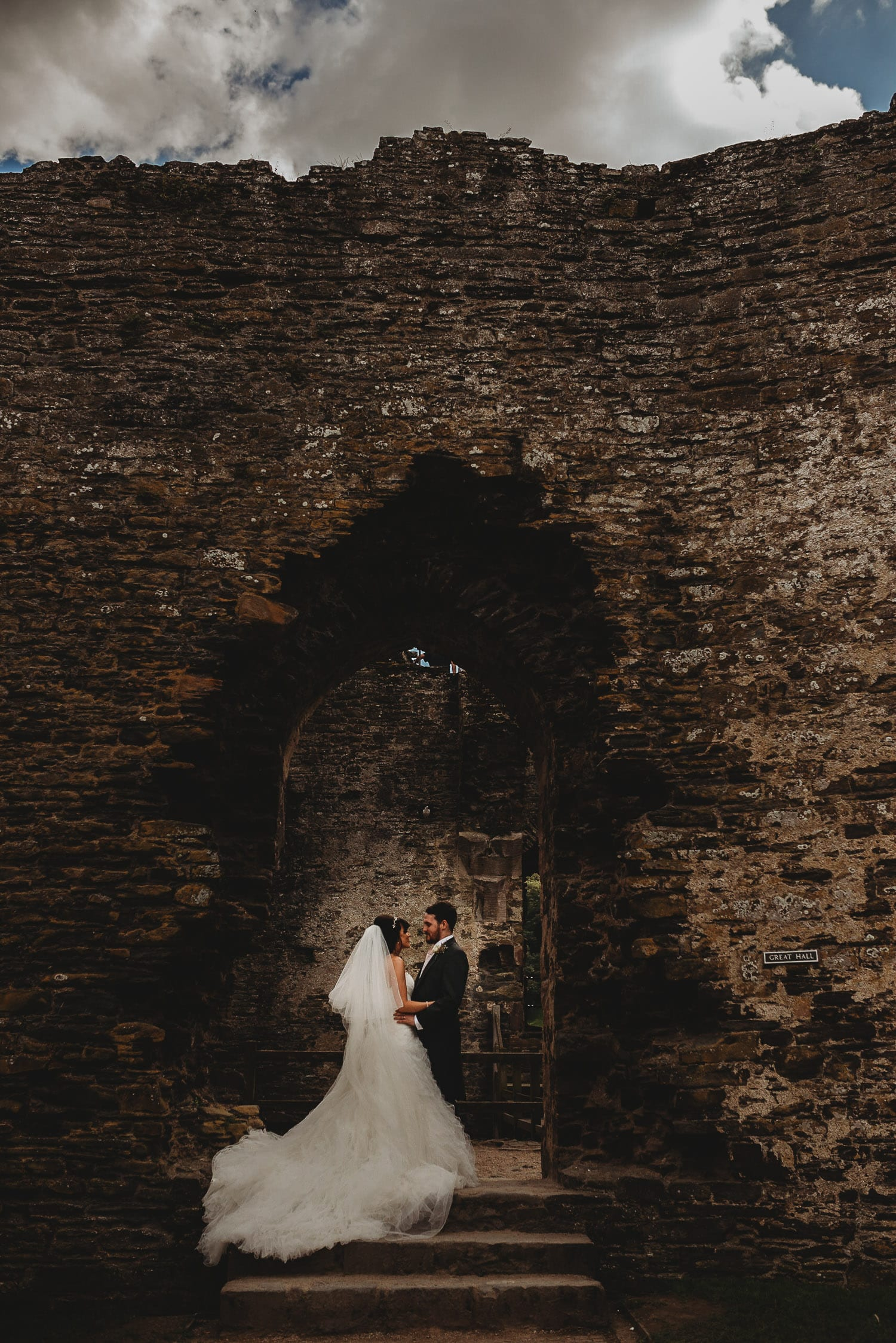 portrait of newly married couple at Conwy Castle