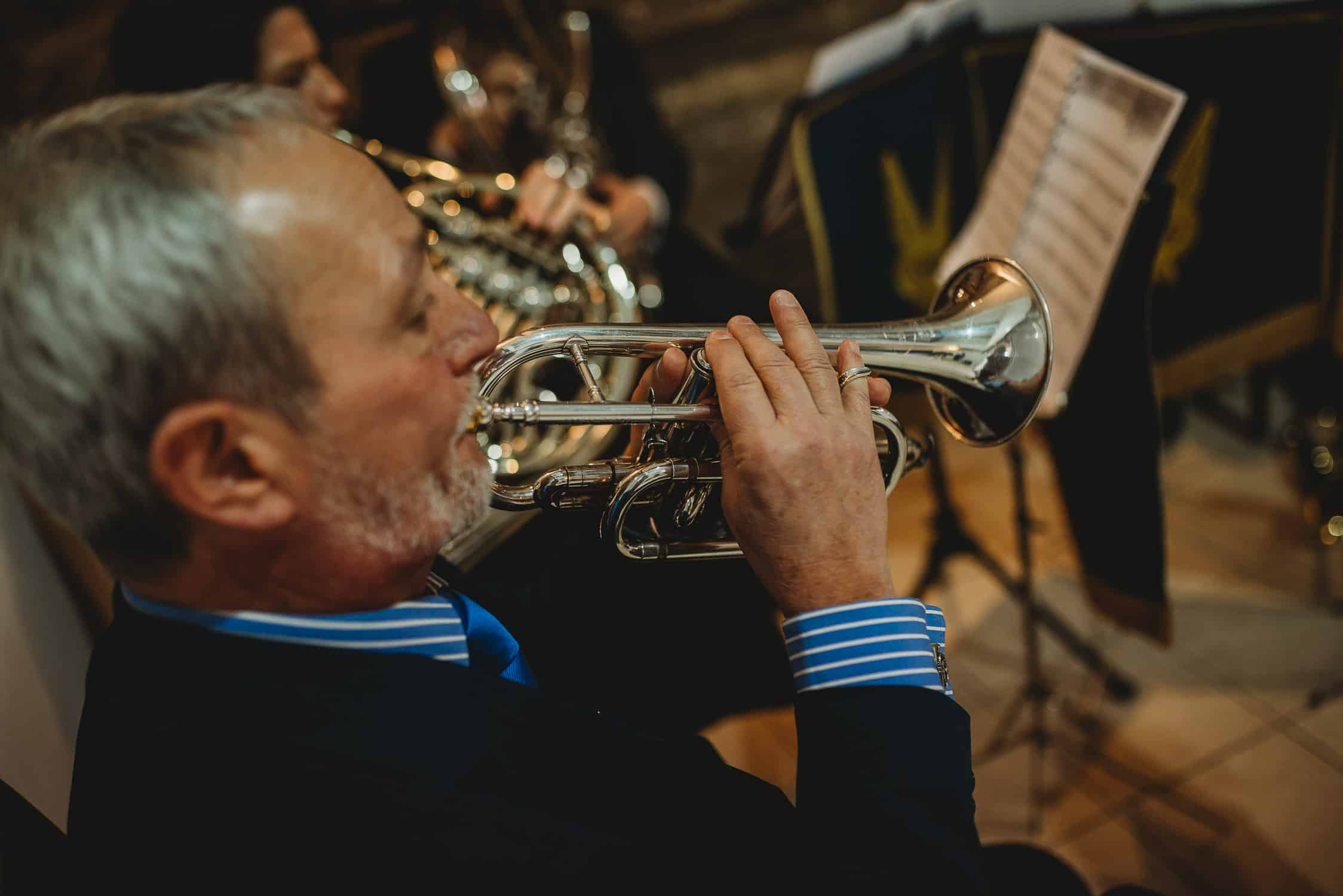 musician playing the bugle at Stirk House in Lancashire