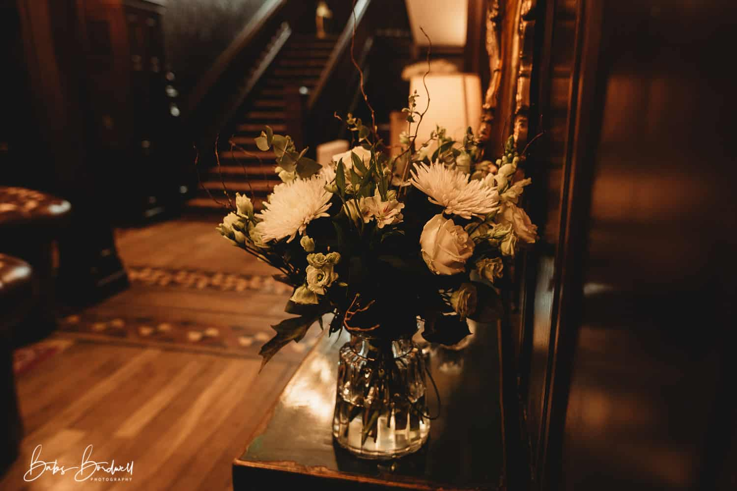 close-up of flowers for a romantic wedding at Tyn Dwr Hall