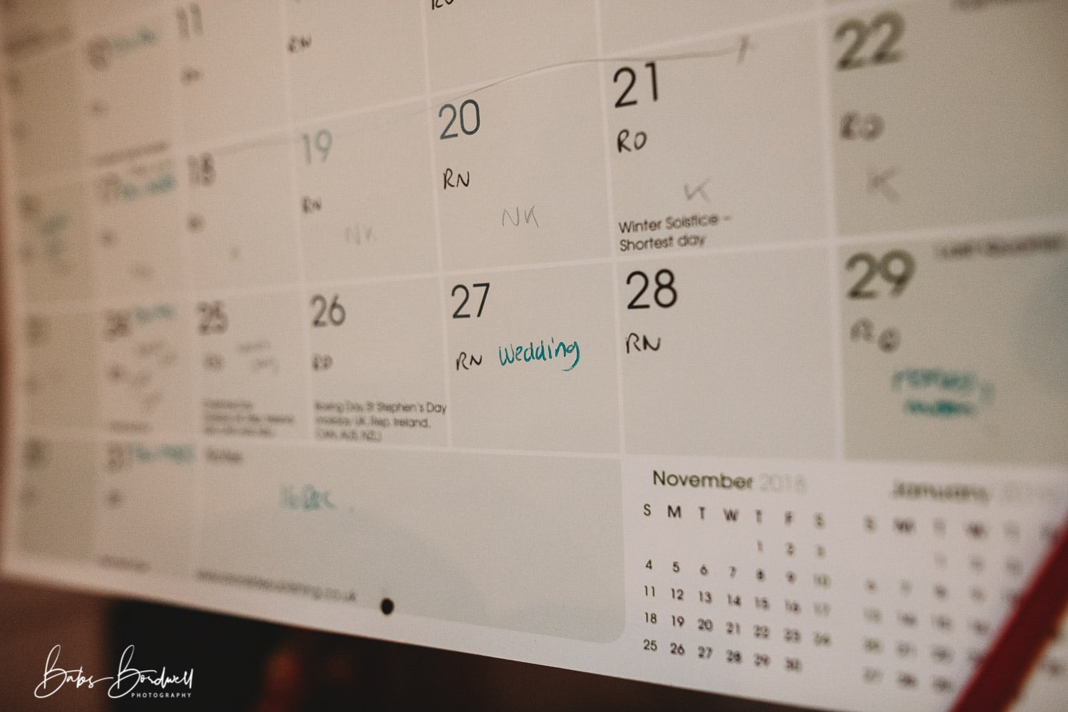 calendar with wedding date