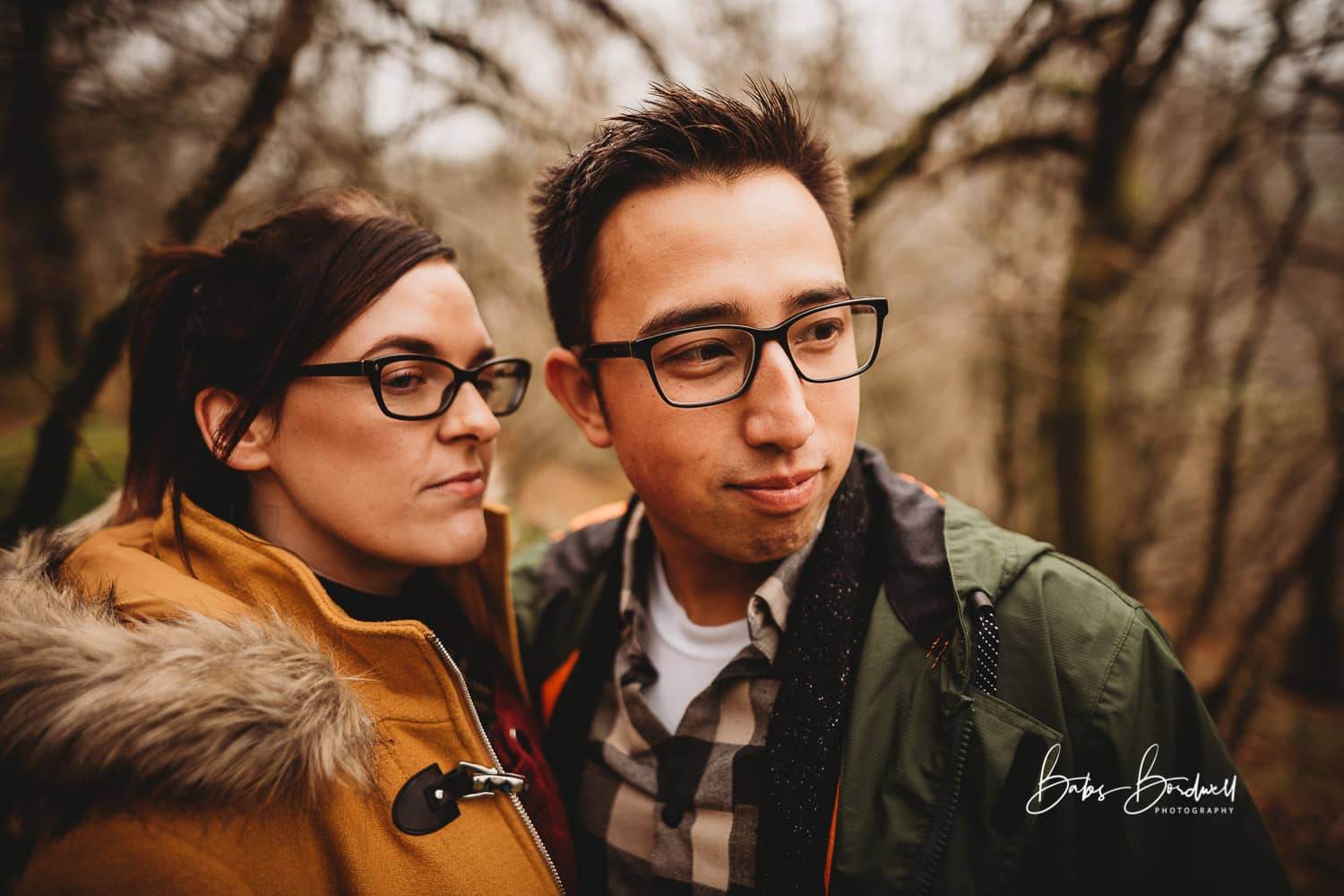 portrait of couple looking into the distance