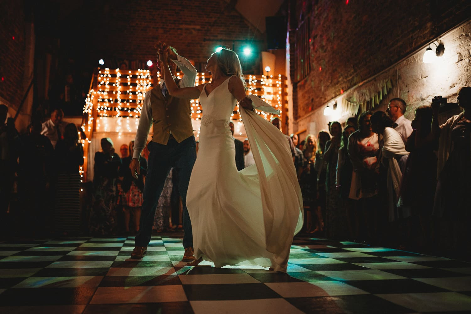 Bride and groom doing their first danceat Pentre Mawr Country House