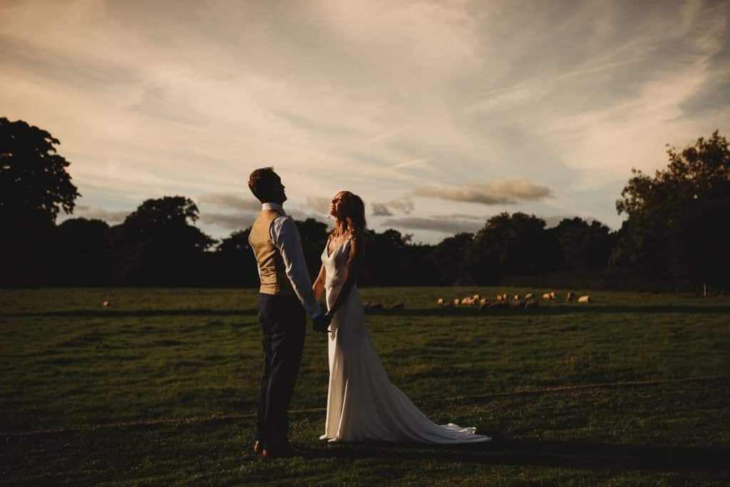 North Wales Wedding Photographer at Pentre Mawr Country House portrait of couple at sunset