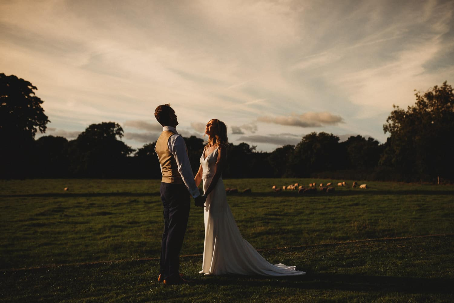 Portrait of couple at sunset with sheep in the backgroundat Pentre Mawr Country House