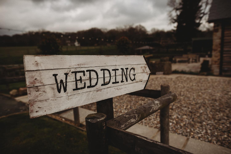 close-up of wedding sign at Tower Hill Barns
