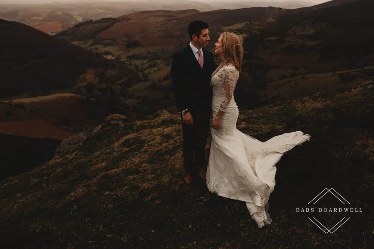 Best North Wales Wedding Photographer with couple looking at each other