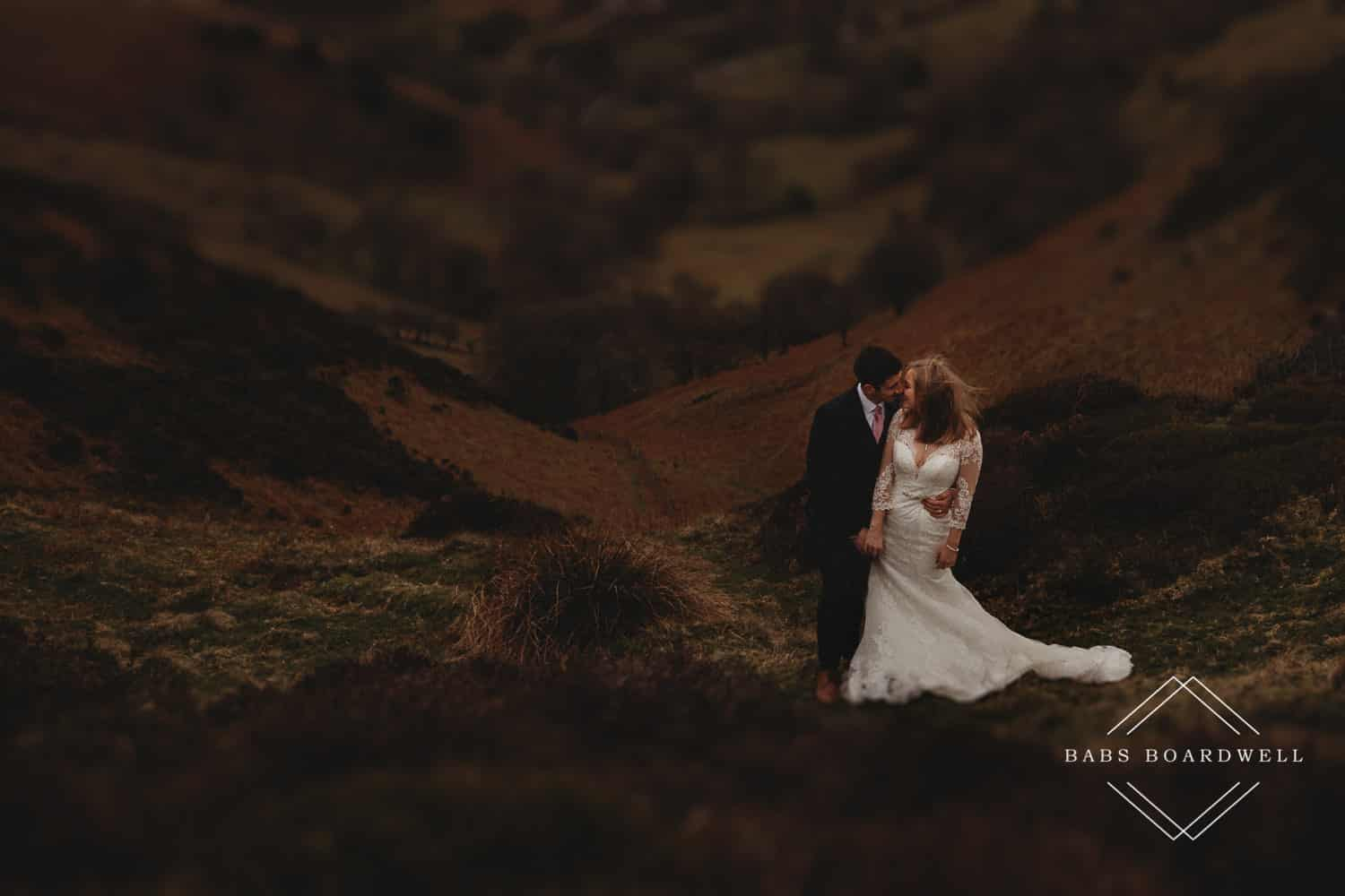 Snowdonia Wedding Photographer couple looking at each other