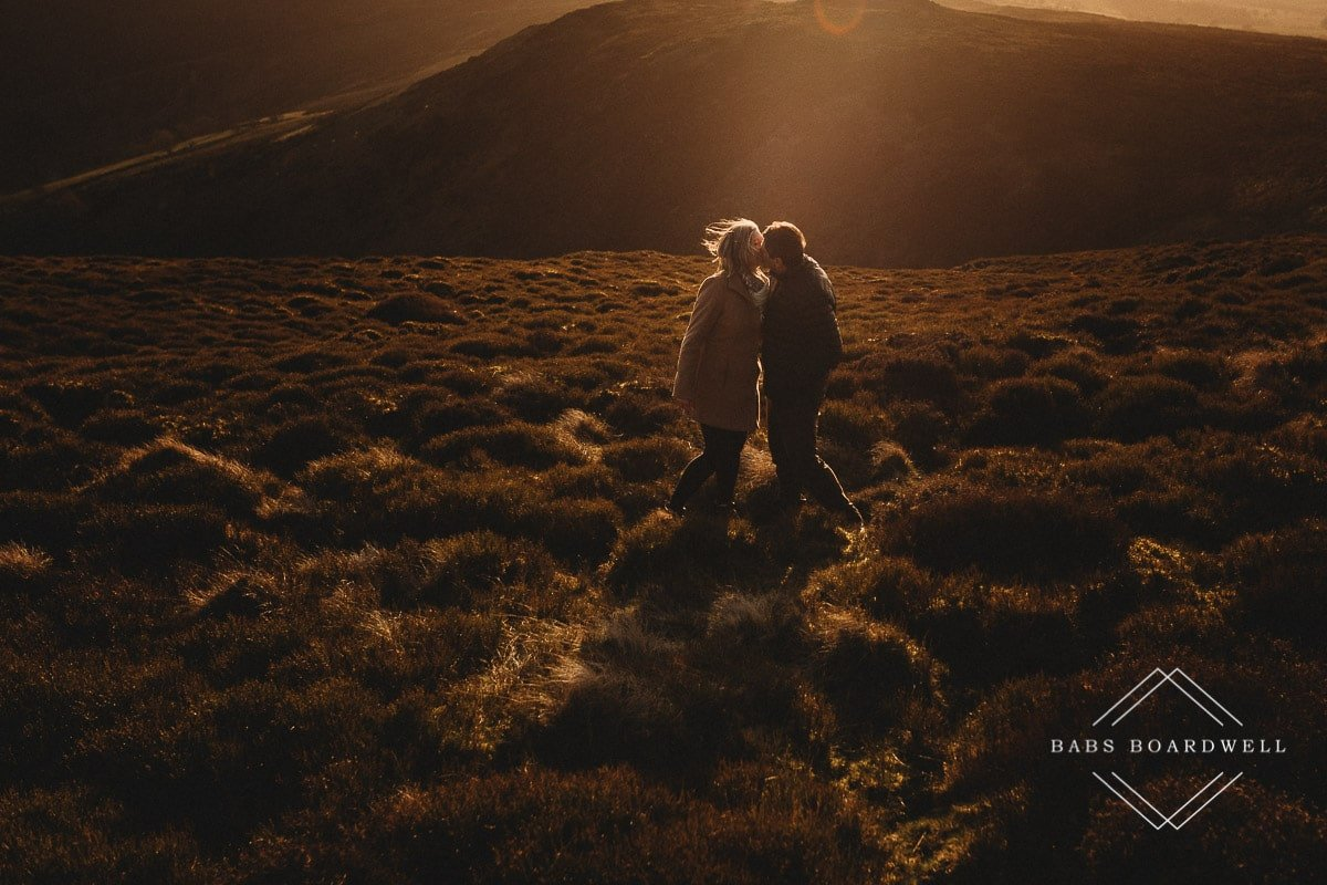 couple kissing at sunset in North Wales by Denbigh Wedding Photographer