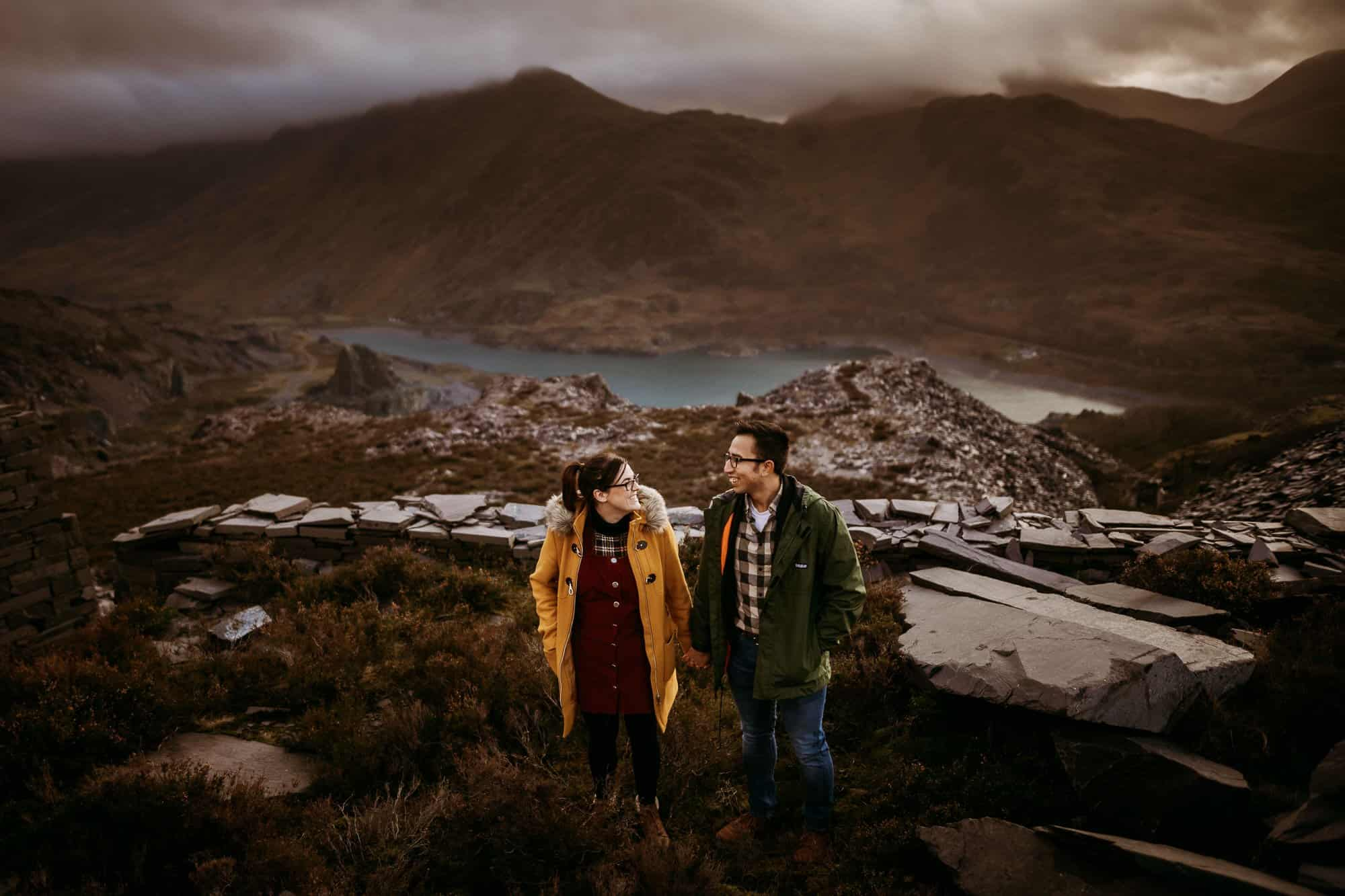 bride and groom looking at each other at Dinorwig Quarry