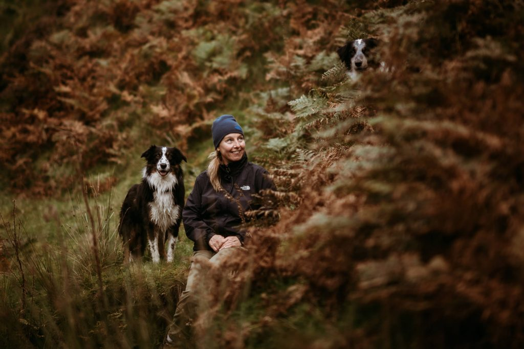 Babs Boardwell North Wales Wedding Photographer with 2 of her Border Collies