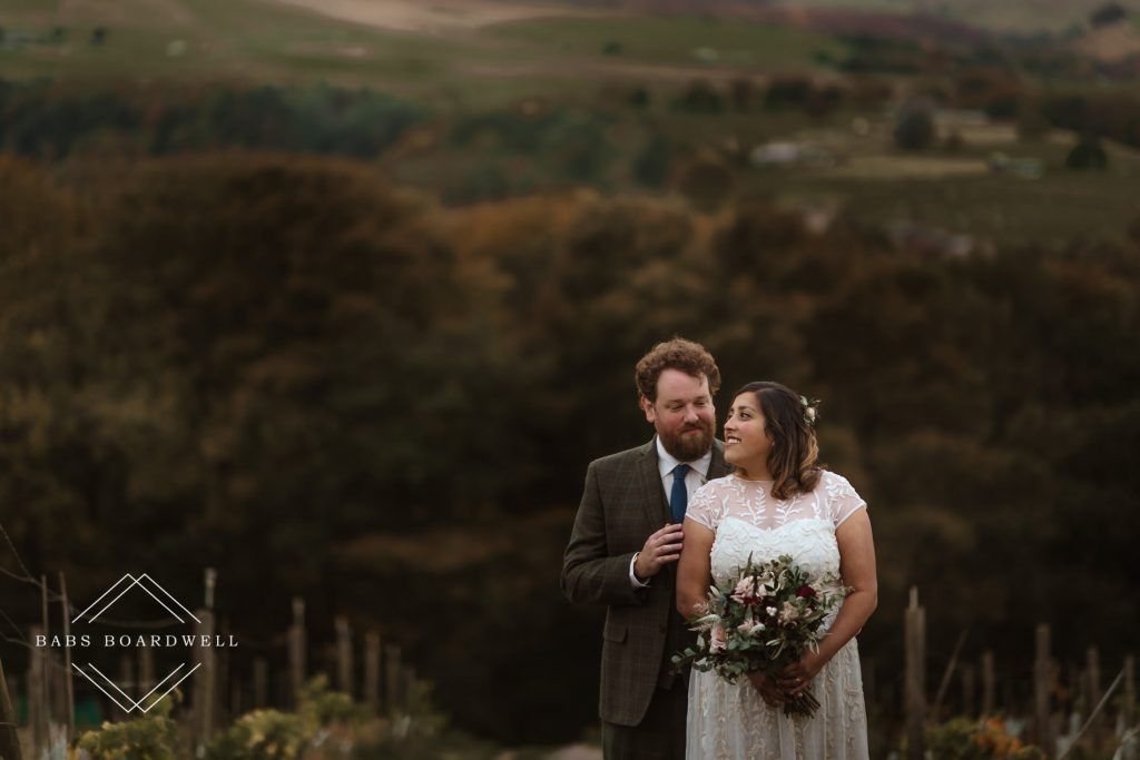 Wedding day couple portrait at Holmfirth Vineyard