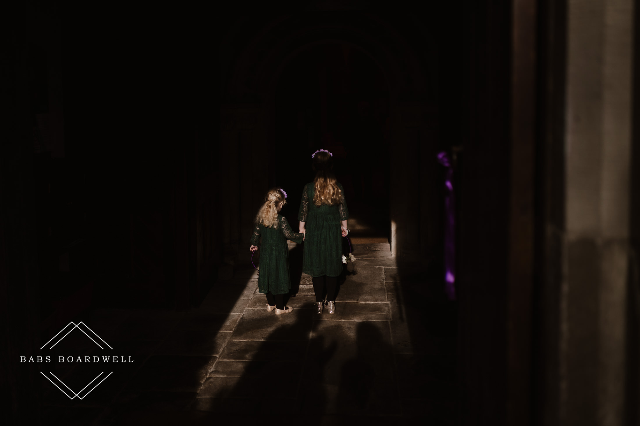 bridesmaids in a light pocket at St. Briavels Church