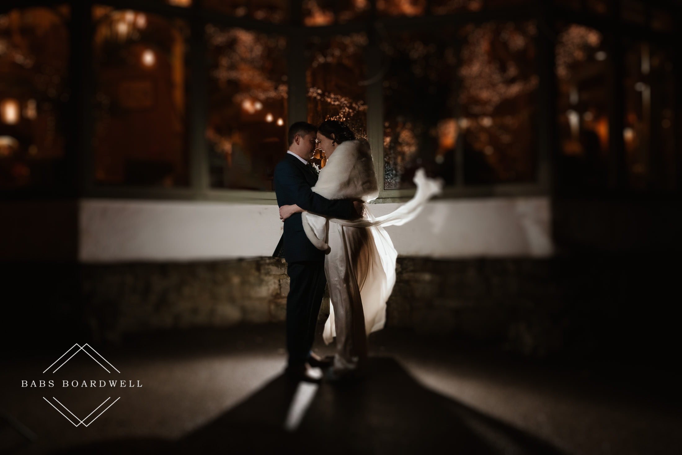 wedding day portrait of bride and groom at night outside the Plas Hafod Country House Hotel