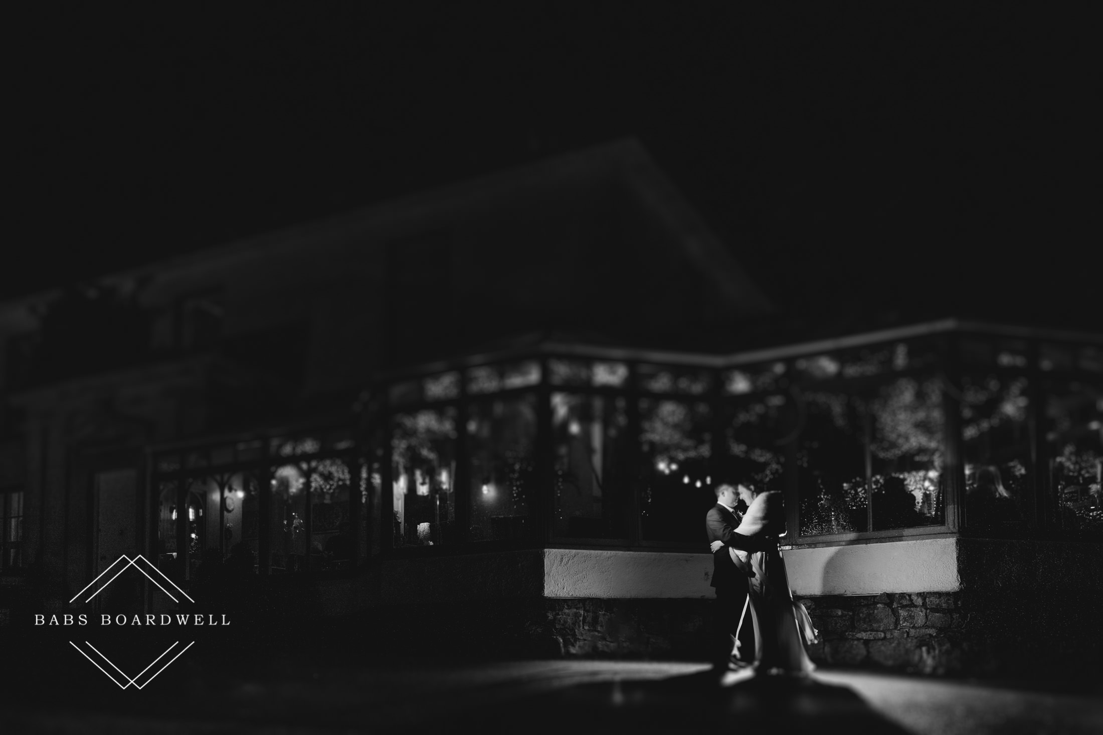 black and white image of couple in the dark outside Plas Hafod Country House Hotel
