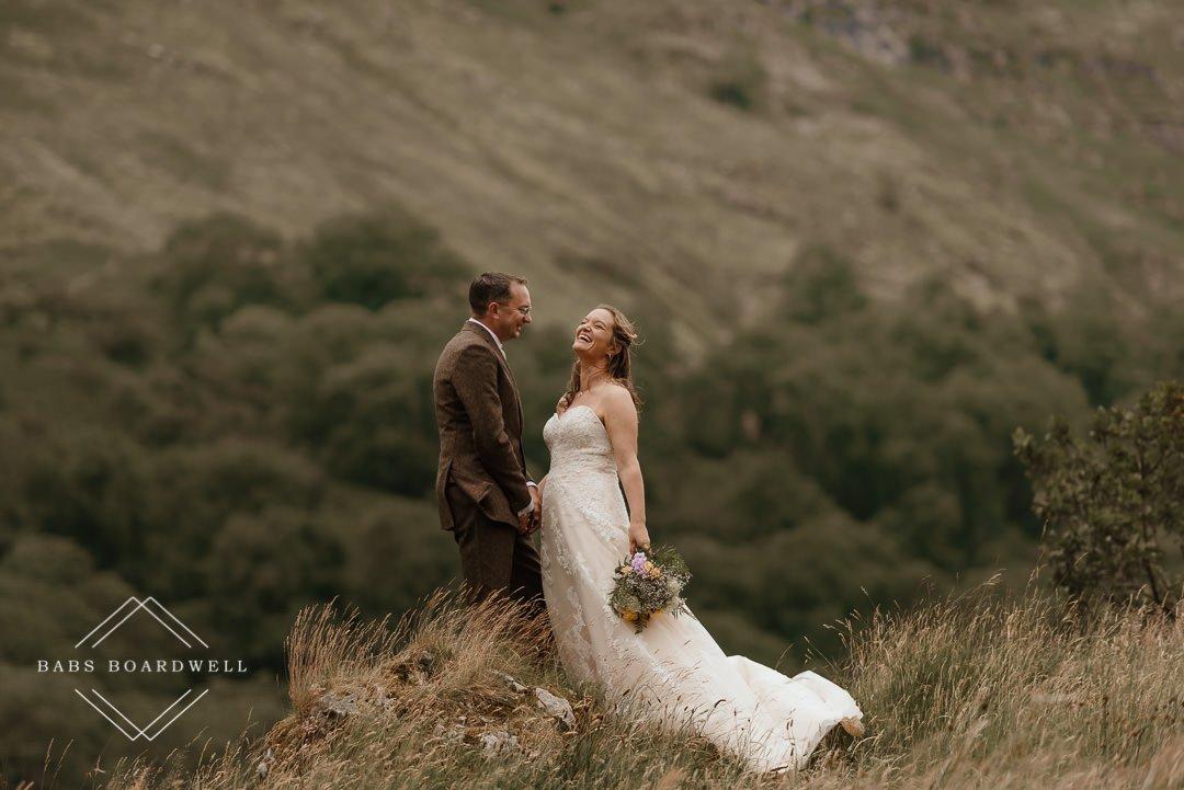 Outdoor wedding photography near Nant Gwynant.