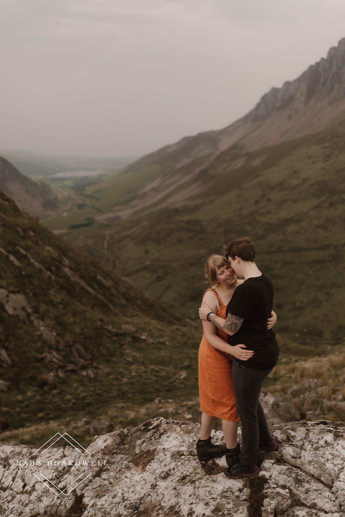 post-wedding adventure by a glacier lake