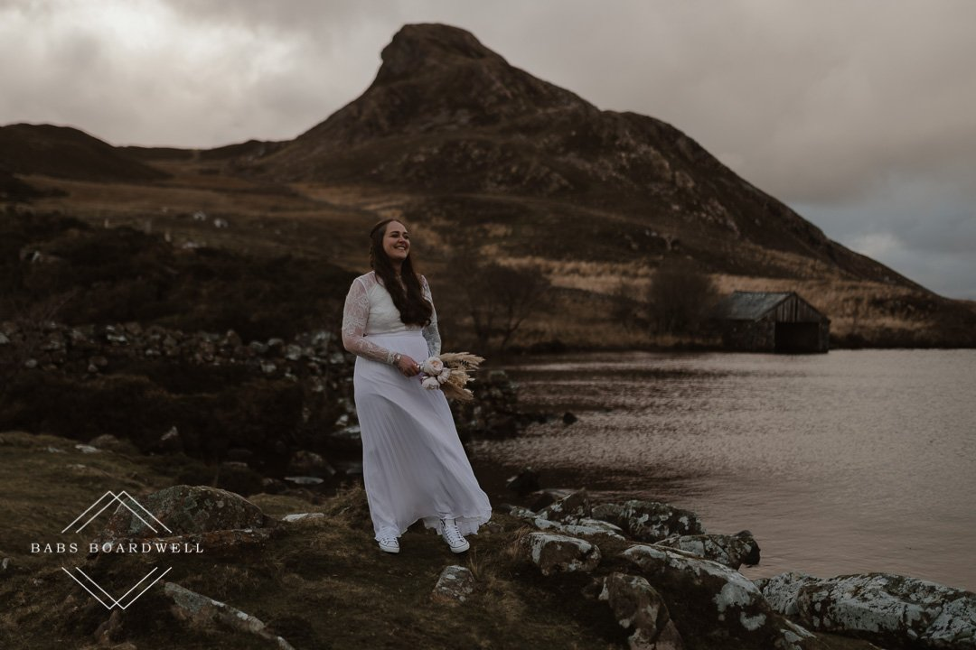 romantic lesbian elopement wedding in Snowdonia