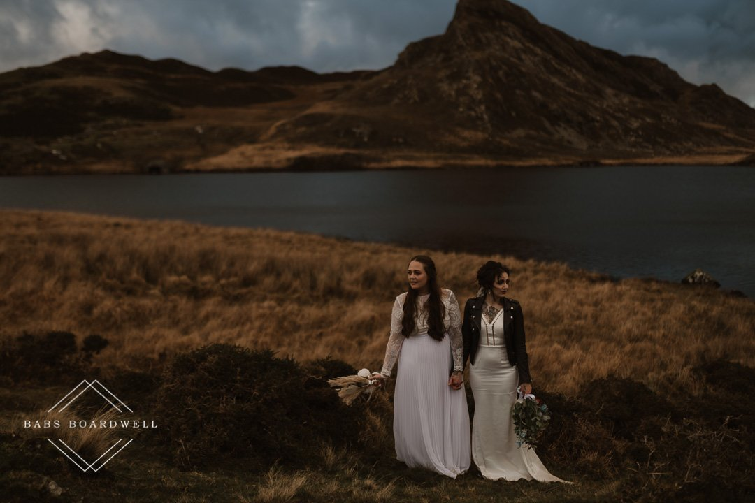 Romantic lesbian elopement wedding in Snowdonia