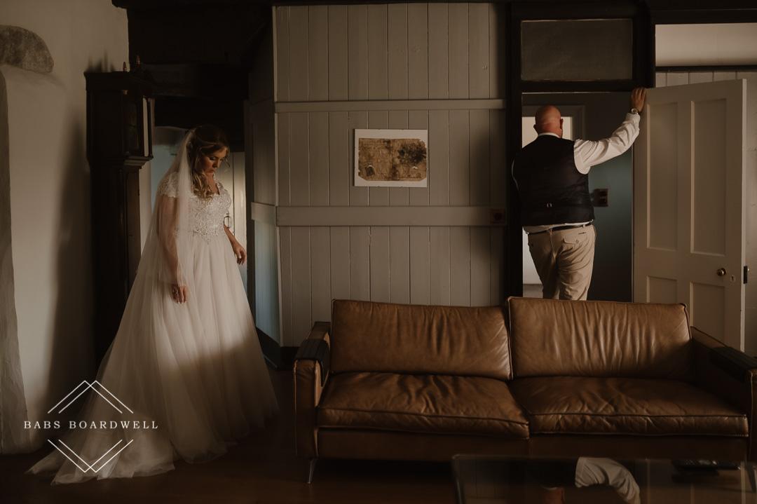 first look at Plas Gwyn Snowdonia Elopement Wedding Photographer