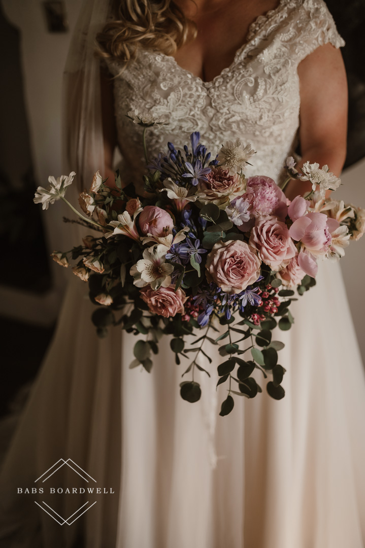 close-ups of wedding flowers at Plas Gwyn Country House by North Wales Wedding & Elopement Photographer